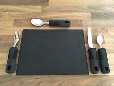 Juego de cubiertos de 4 grandes mango cuchillo tenedor cuchara y té cuchara de prueba de lavavajillas segura