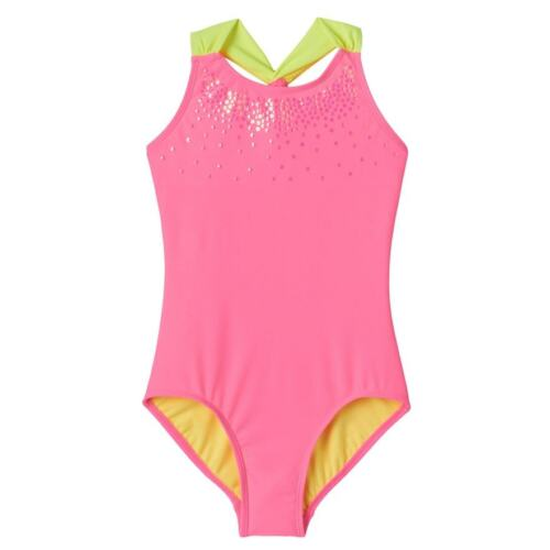 So Girl Size 4 5//6 12 14 Bright Pink Sequin Yellow UPF 50 One Piece Swimsuit NEW