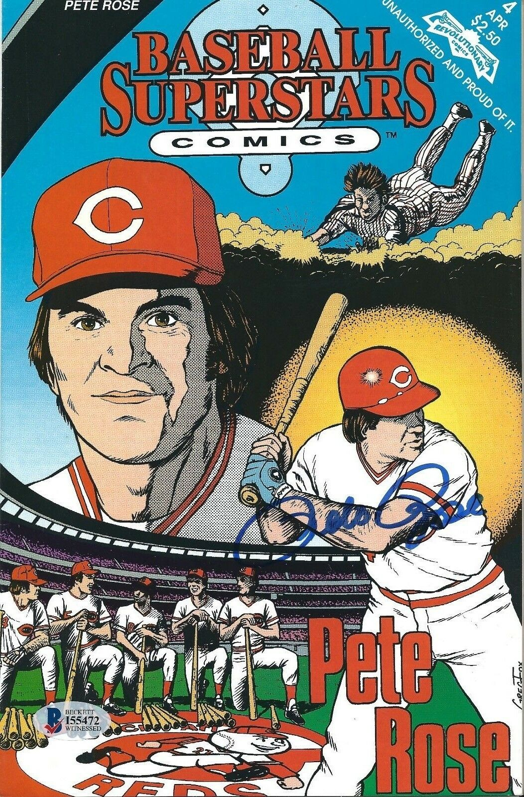 Pete Rose Signed Baseball Superstars Comic Book *Cincinnati Reds Beckett I55472