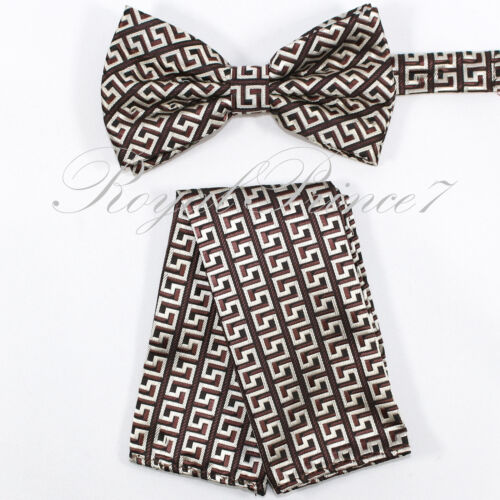 Brand NEW MEN/'S Novelty Design Bow tie And Matching Hanky Set Wedding Party Prom