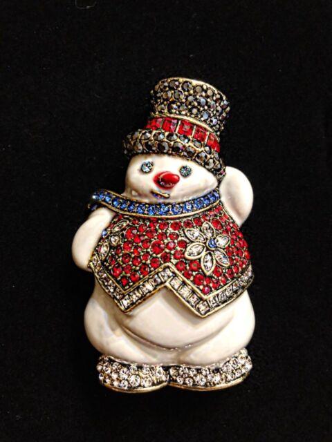 f8acb0d23 Heidi Daus Snowman In White Enamel Pin SWAROVSKI CRYSTALS | eBay