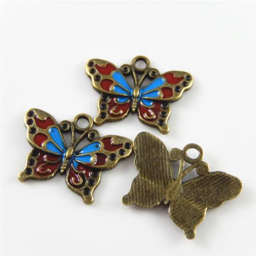 coloridas Aleación Colgantes Esmalte Lindo Mariposa Look encantos hágalo usted mismo Manualidades 52416 20 un