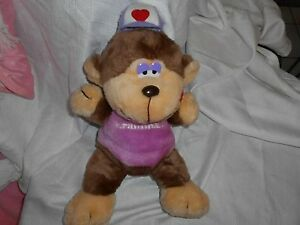 "KMART K MART VINTAGE PURPLE BROWN PLUSH MONKEY 1985 KRANIMAL 15"" HEART LIPS"