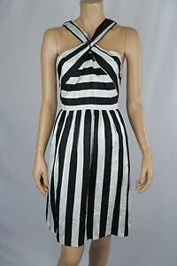 Leona-by-Leona-Edmiston-Ladies-Sleeveless-Black-White-Stripe-Dress-size-10
