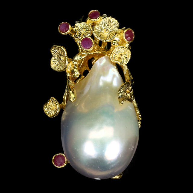 Heated Only Round Red Ruby 2mm Pearl 14K Gold Plate 925 Sterling Silver Pendant
