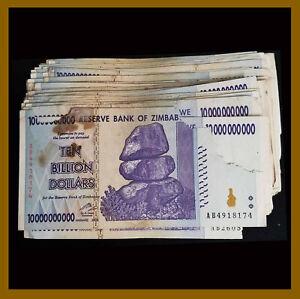 Used Cir Zimbabwe 5 Billion Dollars x 100 Pcs Bundle Damaged 2008 AA//AB
