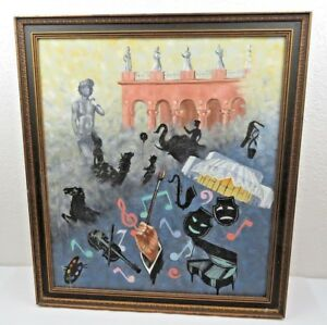 Details About Vintage Oil On Canvas Surrealist Italian Music Decor Pop Art Deco Mid Century