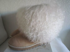 Ugg Australia Sheepskin Mongolian Hair Short Cuff boots Women's Sand #1875 Sz 8