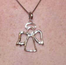 LARGE FREE FORM ANGEL W HALO  CHARM PENDANT STERLING SILVER 6.5 GRAMS W CHAIN