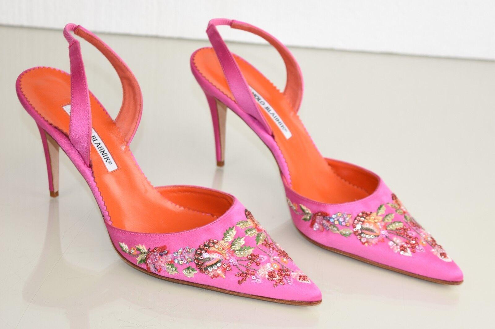 NEW Manolo Blahnik HAYIR Carolyne Pumps Pink Satin Sequins heels Shoes 40 41