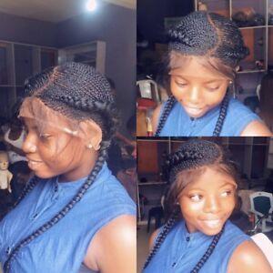 Details about Braided wig handmade cornrow Ghana weave with closure PRE  ORDER 2,3WEEKS
