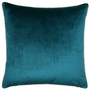 """LUXURY LARGE SOFT VELVET TEAL BLUSH PINK PIPED CUSHION COVER 22"""" - 55CM"""