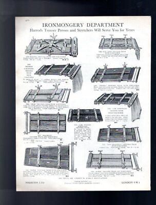 1929 Pantaloni Premere E Vassoi Umbrella Stand Harrods Vintage Pubblicità Biadesivo-mostra Il Titolo Originale