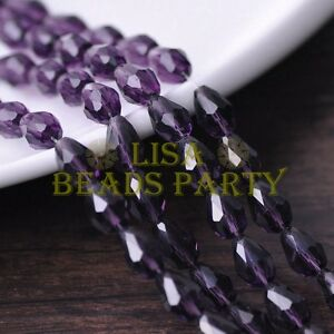 New-30pcs-12X8mm-Faceted-Teardrop-Crystal-Glass-Spacer-Loose-Beads-Bluish-Violet
