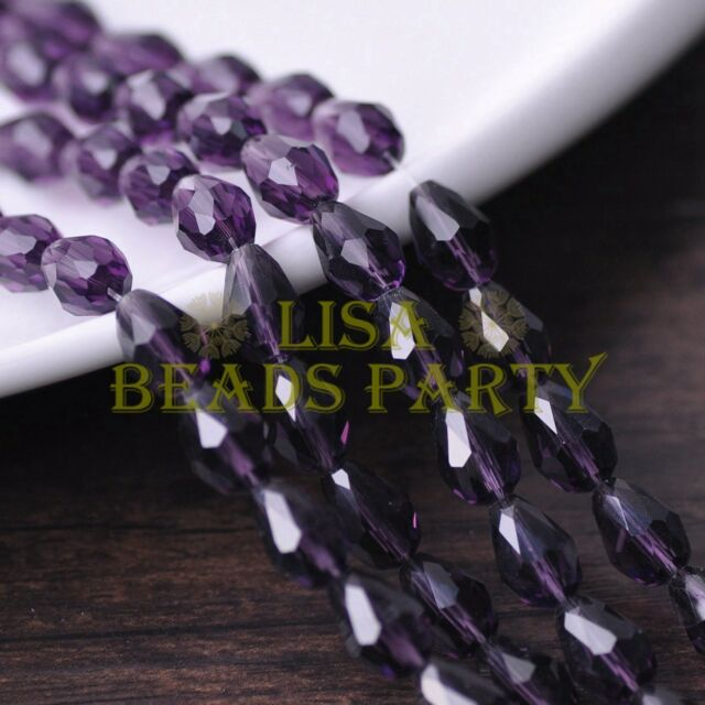 New 30pcs 12X8mm Faceted Teardrop Crystal Glass Spacer Loose Beads Bluish Violet