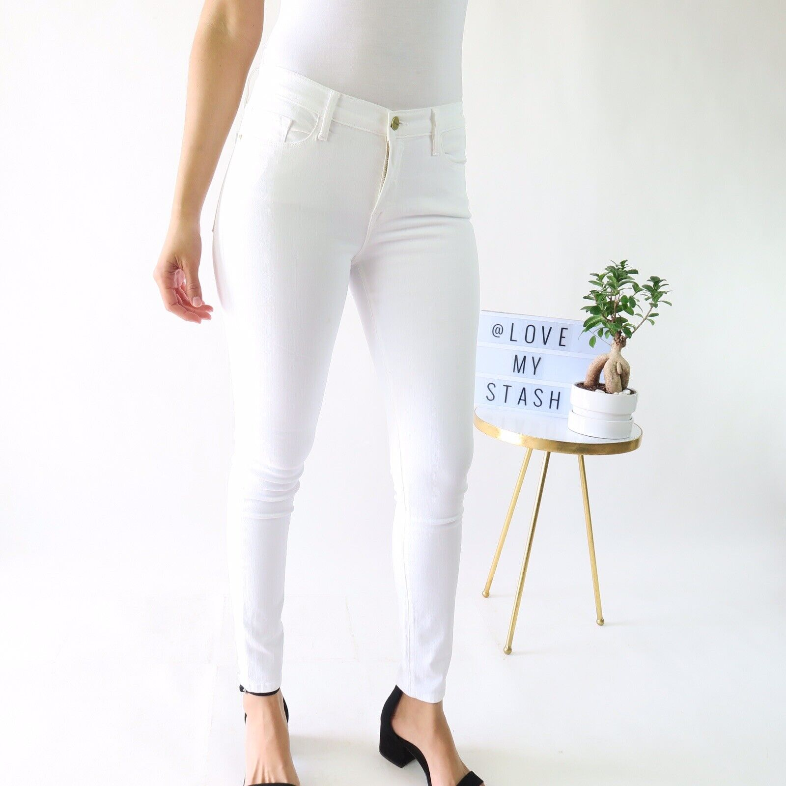 FRAME Le color Skinny Jeans In white - Women's Size 30 - RRP