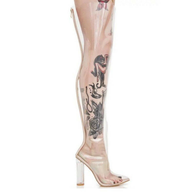 Over the knee thigh high boots Ladies transparent clear high heel summer shoes