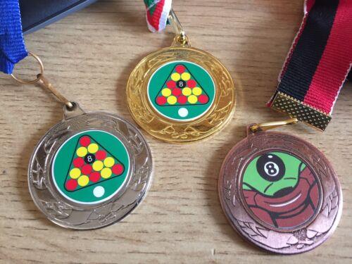 Centres /& rubans 3 X 8 Ball Pool médailles OR ARGENT /& Bronz-Gravure Gratuite 40 MM