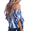 New-Womens-Striped-Loose-Sexy-Off-Shoulder-Blouse-Tops-Baggy-Casual-T-Shirt-Top thumbnail 8
