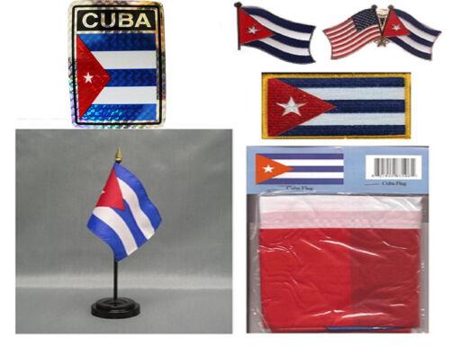 Cuba Heritage Flag Set 3x5 Flag, Decal, Lapel Pins, Desk Flag /& Patch