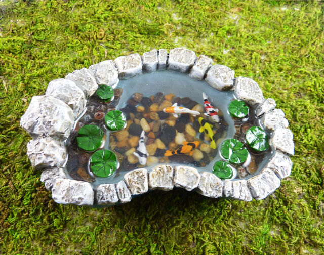 Closeout! Dollhouse Miniature Fairy Garden Resin Koi Pond with Lily Pads, 16883