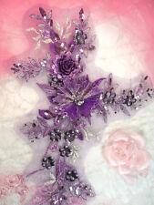"""Embroidered 3D Applique Purple Plum Floral Sequin Ballet Patch 14"""" (DH70)"""
