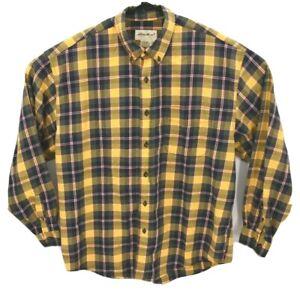 Eddie-Bauer-Mens-Long-Sleeve-Flannel-Shirt-Sz-L-Yellow-Plaid-Button-Down
