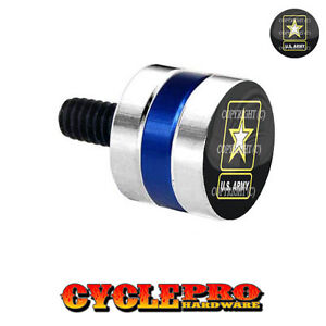 Silver & Blue Billet Fender Seat Bolt 96-Up Harley ARMY STAR - 005