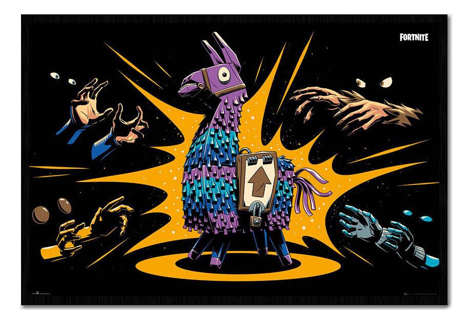 Fortnite Loot Llama Poster FRAMED CORK PIN BOARD With Pins   UK Seller