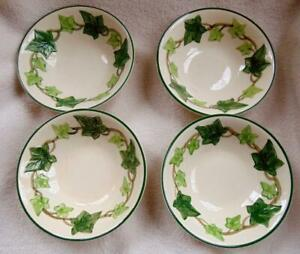 "Francsican Ivy Coupe Cereal Bowls 6"" Set of 4 Gladding McBean VG Used 1960s"