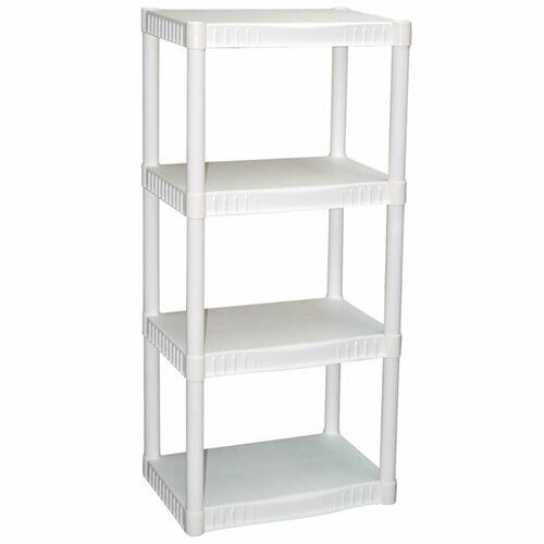White 4-Tier Free-Standing Shelving Unit Heavy-Duty Home Plastic Storage  Shelf
