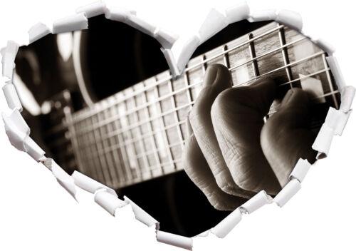 3d-LOOK coeur mural autocollant-sticker Jouer de la guitare