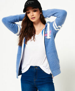 New-Womens-Superdry-Track-amp-Field-Zip-Hoodie-Sprinter-Blue-Snowy