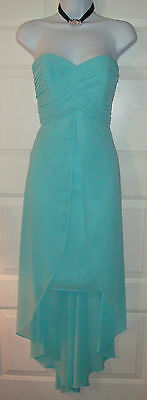 David's Bridal Tiffany Blue High-low  Bridesmaid Dress Size 14