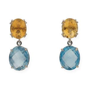Pendientes-Mujer-Topacio-Azul-Cuarzo-Citrino-Oro-Blanco-de-Primera-Ley