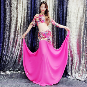 Womens Belly Dance Costume 2Pics Set Blouse Top/&Printed lace mesh skirt Dress