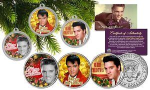 ELVIS-PRESLEY-JFK-US-Half-Dollar-3-Coin-Set-w-Christmas-Tree-Ornament-Capsules