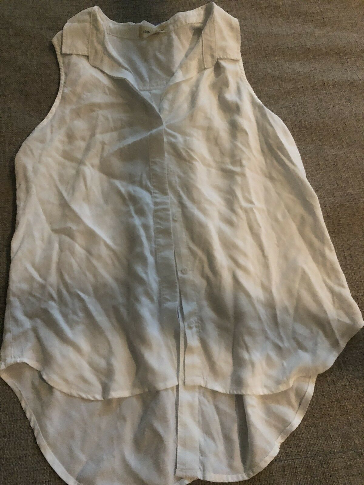 New CLOTH & STONE Sheer White Sleeveless Button Hi-Low Top Large