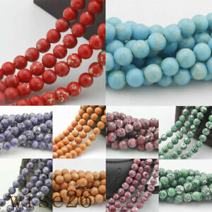 Loose-Spacer-Turquoise-Round-Beads-15-034-Gemstone-Natural-4-6-8-10-12-14mm