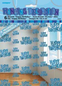 GLITZ-BLUE-6-HANGING-DECORATIONS-HAPPY-BIRTHDAY-1-5M-5-039-BIRTHDAY-PARTY-SUPPLIES