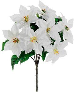 15 Artificial Water Resistant White Poinsettia Bush W 7 Stems Velvet Flowers Ebay