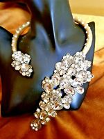 Sold Out Auth Oscar De La Renta Cabochon Clear Crystal Necklace Signed Usa