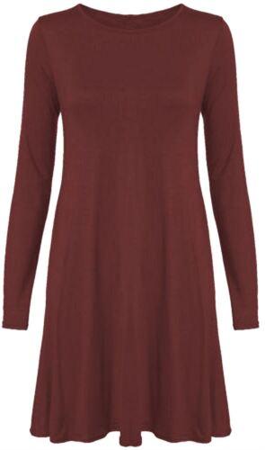 New Womens Plus Size Long Sleeve Swing Dress 8-22