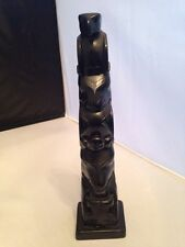 Black Resin Totem  Pole With Eagle On Top