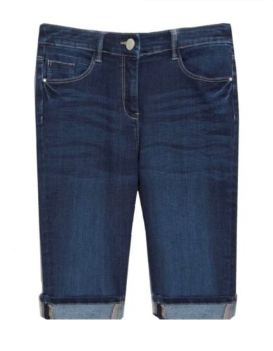 Girls Womens New Size 6-12 New Stretch Denim Blue Knee Length Shorts Ladies