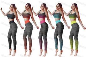 b8f4c3b003f1 Ladies Crop Top   Legging Gym Wear Set Womens Fitness Workout Sports ...
