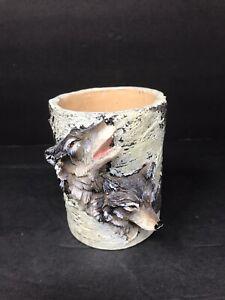 Vintage-Slifka-Resin-Wolf-Mug-Small-Planter-Bark-Tree-Decoration-Collectible-GUC