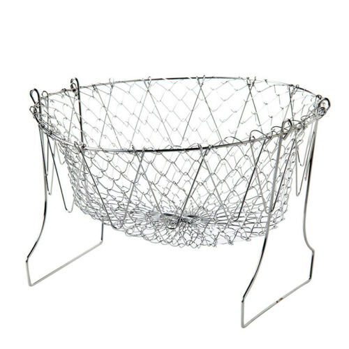 Folding Chip Fryer Basket Fries Fruit Pan Stainless Steel Strong Wire Bucket UK
