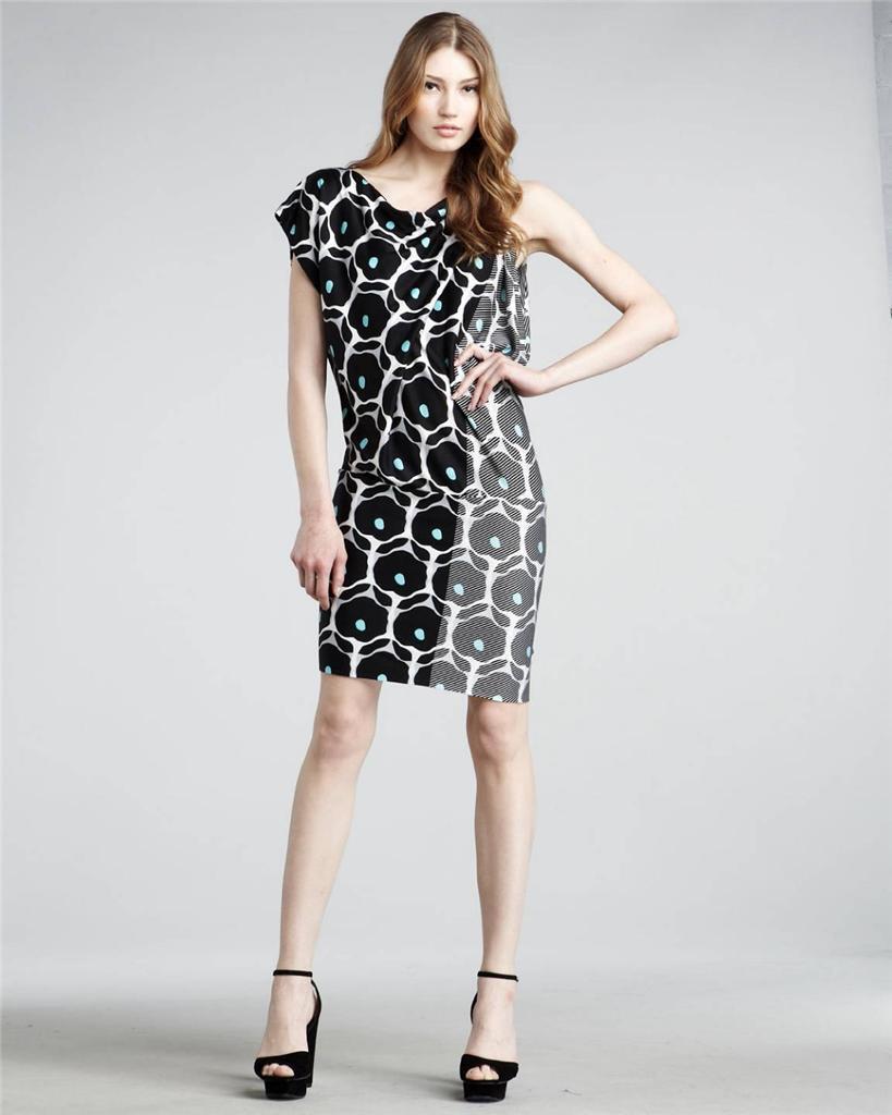 Nuevo Con  Etiquetas Diane Von Furstenberg Posie Pop Daisy Negro Estampado Seda Vestido 6  Nuevos productos de artículos novedosos.