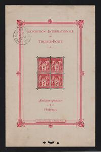 FRANCE-BLOC-FEUILLET-N-1-b-034-EXPOSITION-PARIS-1925-034-NEUF-x-AVEC-CACHET-TB-T611